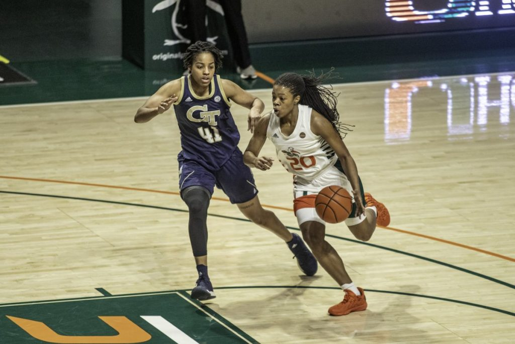 Senior Kelsey Marshall scored a team high 16 points in Miami's loss to Georgia Tech Thursday Jan. 28. Marshall recently eclipsed 1000 career points.