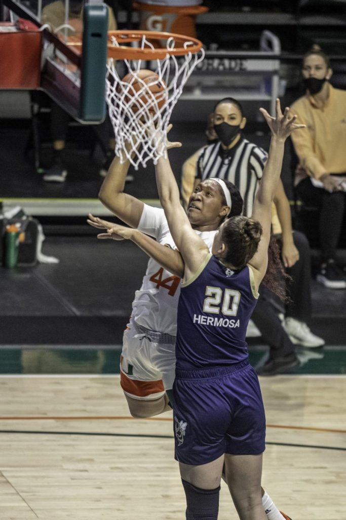 Sophomore Center Sydnee Roby attempts a layup during the fourth quarter against Georgia Tech. Roby scored four points off the bench in Miami's loss Thursday Jan. 28.