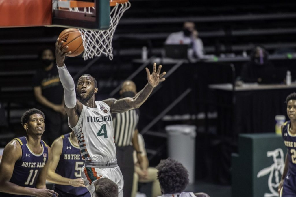 Elijah Olaniyi recorded 10 points and four steals in the loss. Olaniyi is one of the seven scholarship players Miami has available due to injuries.