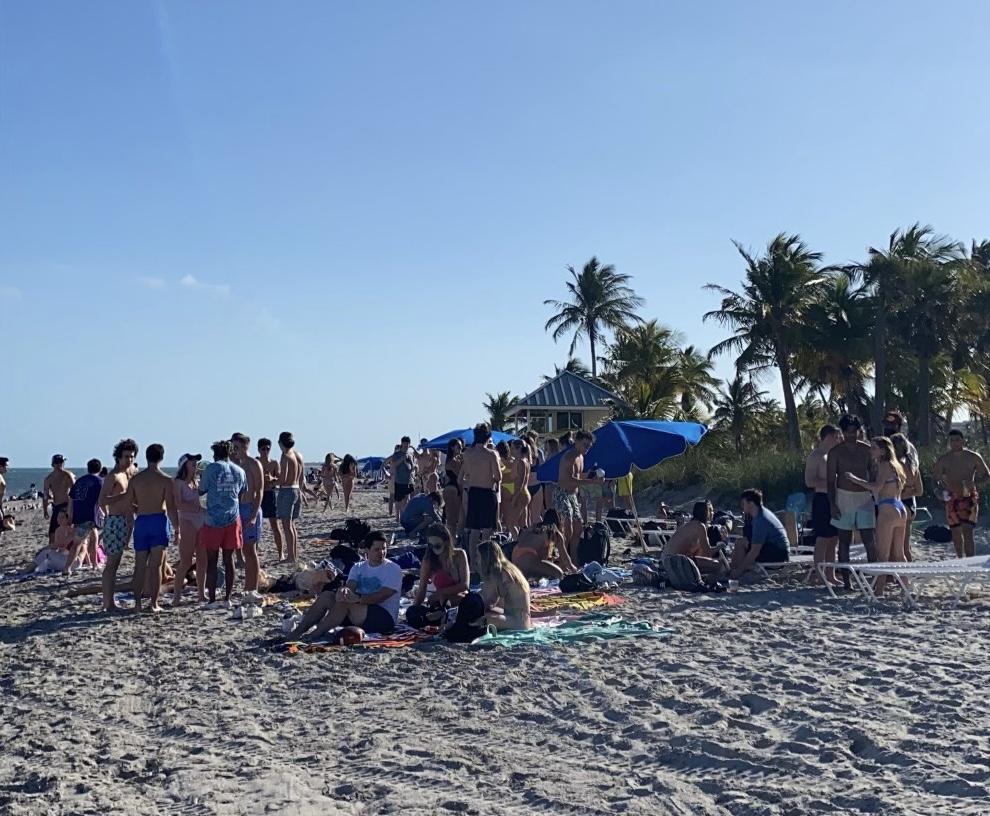 Members of Alpha Delta Pi and Pi Kappa Alpha gather at Crandon Beach on Feb. 13.