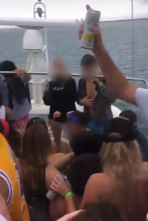 Members of Zeta Tau Alpha and Sigma Phi Epsilon gather on boat on Feb. 6. Screenshot was taken from a live Instagram post.