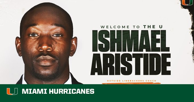 Miami football hires Ishmael Aristide as linebackers coach