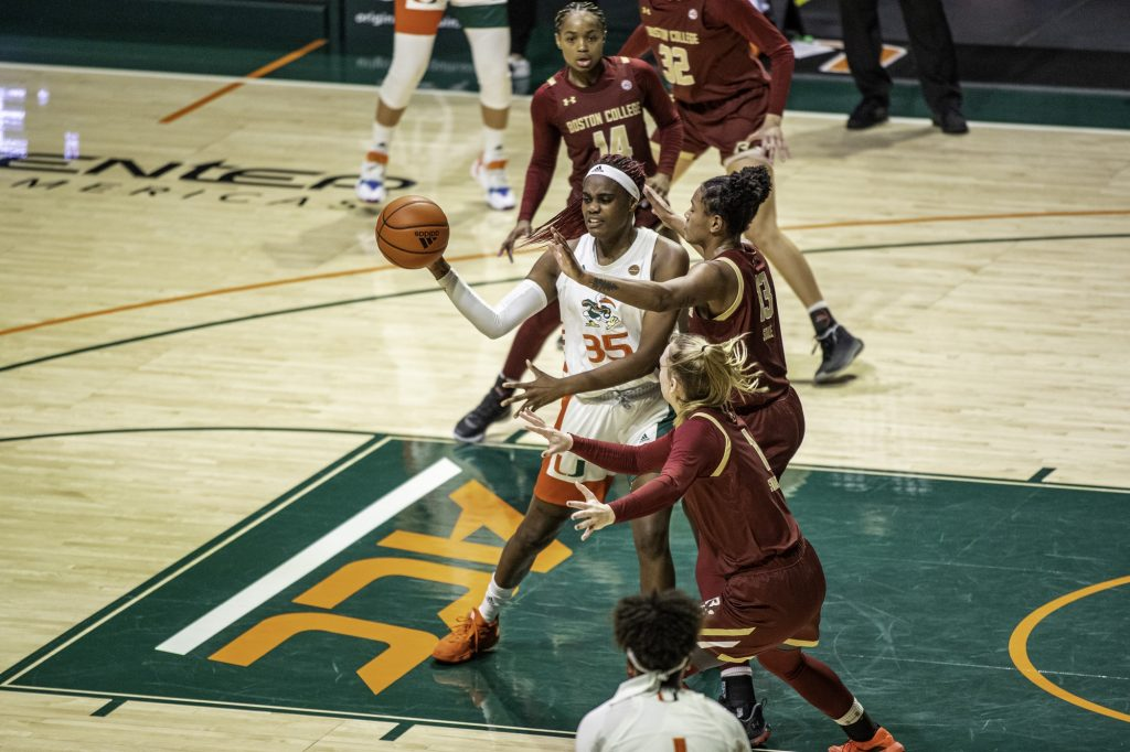 Junior Naomi Mbandu passes the ball out in the first half of Miami's win over Boston College Thursday Feb, 18. Mbandu had 8 points in the win.