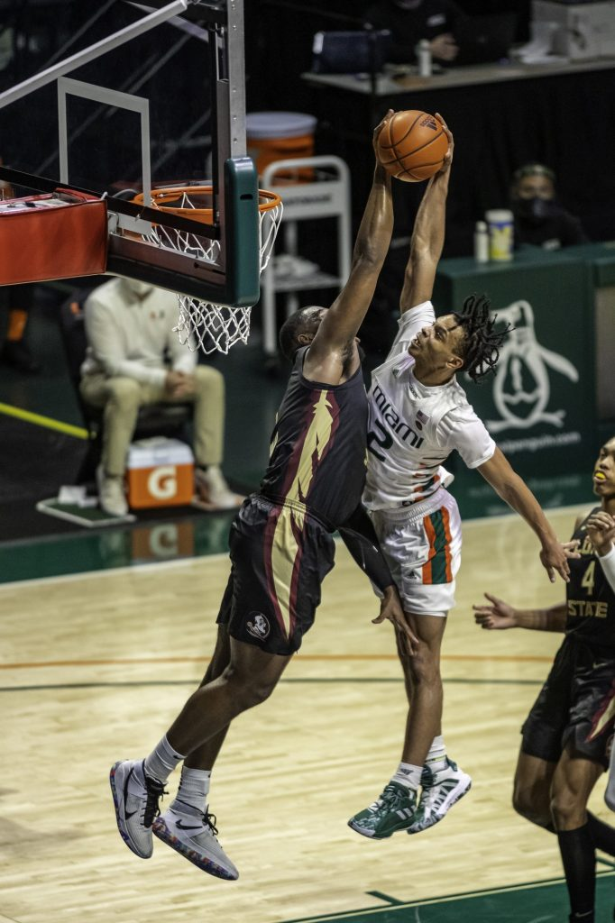 Sophomore Isaiah Wong gets rejected at the rim by Florida State's Raiquan Gray for one of Florida State's eight blocks against the Hurricanes. Wong scored a game high 29 points in Miami's loss to Florida State on Wednesday Feb. 24.