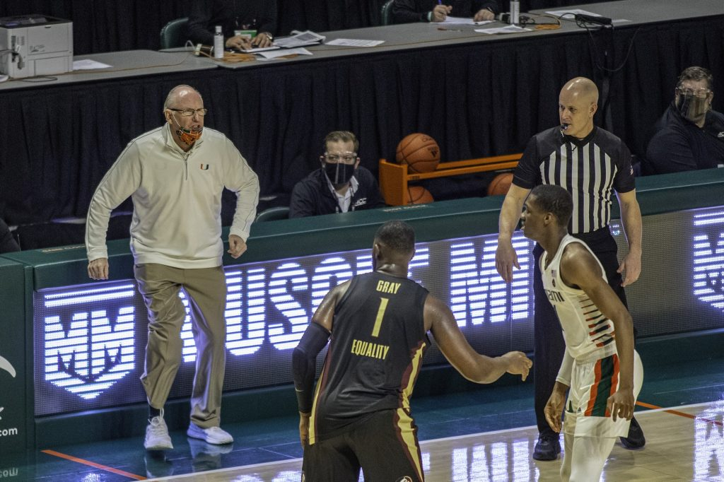 Head coach Jim Larrañaga yells at sophomore Anthony Walker in the final minutes of Miami's loss to Florida State on Wednesday Feb. 24. Miami's record falls to 7-14 on the season after their largest loss of the season.
