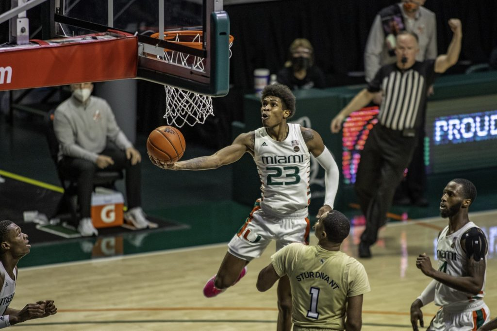 Senior Kameron McGusty attempts a layup in Miami's loss against Georgia Tech Saturday Feb. 20. McGusty scored 8 points while adding 5 rebounds and 4 assists.