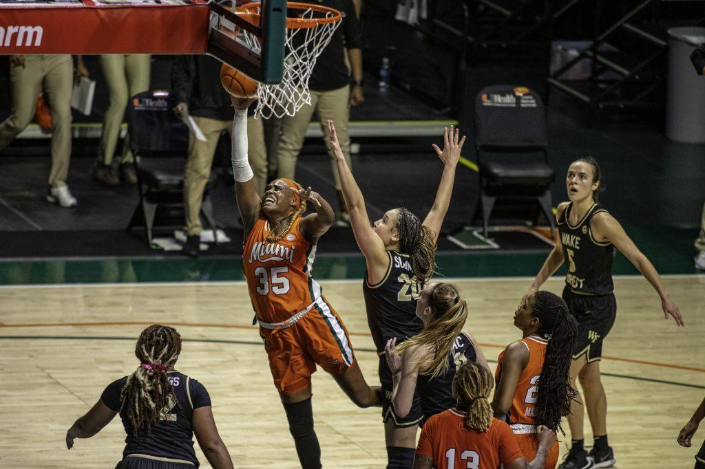 Junior Naomi Mbandu scores a last second bucket to beat the shot-clock in the closing seconds of Miami's victory over Wake Forest on Thursday Feb. 25. This shot by Mbandu gave the Canes a four point lead which ultimately allowed them to seal the game.