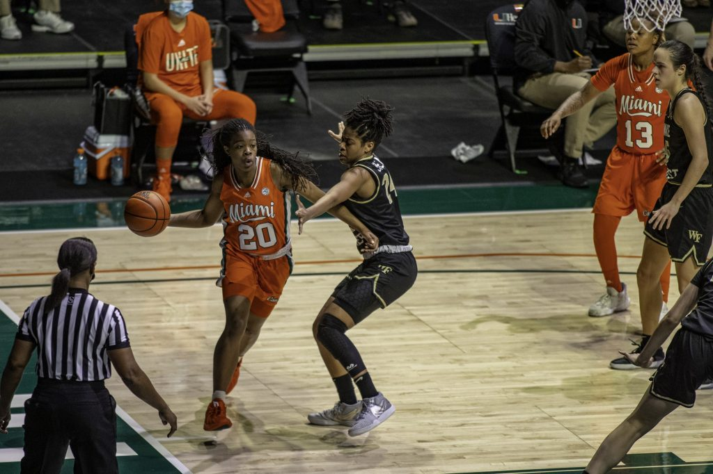 Senior Kelsey Marshall throws a pass around the back of the basket early in the second half of Miami's win over Wake Forest on Thursday Feb. 25. Marshall scored 11 points in the victory.