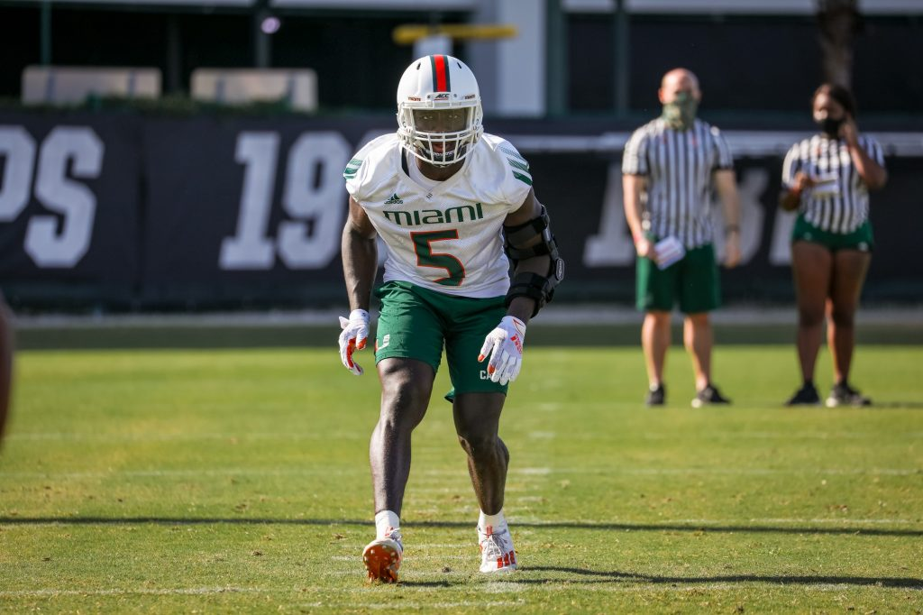 Senior safety Amari Carter pictured at practice on Greentree Field during the first week of spring football practice.