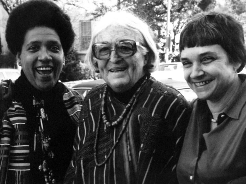 Adrienne Rich (right) stands next to Meridel Lesueur (center) and Audre Lorde (left).