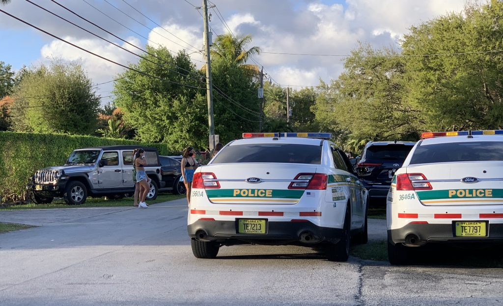 Coral Gables police park in-front of an off-campus frat party Feb. 28.