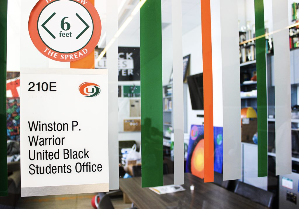 The Winston P. Warrior United Black Students Office is located on the second floor of the Shalala building.