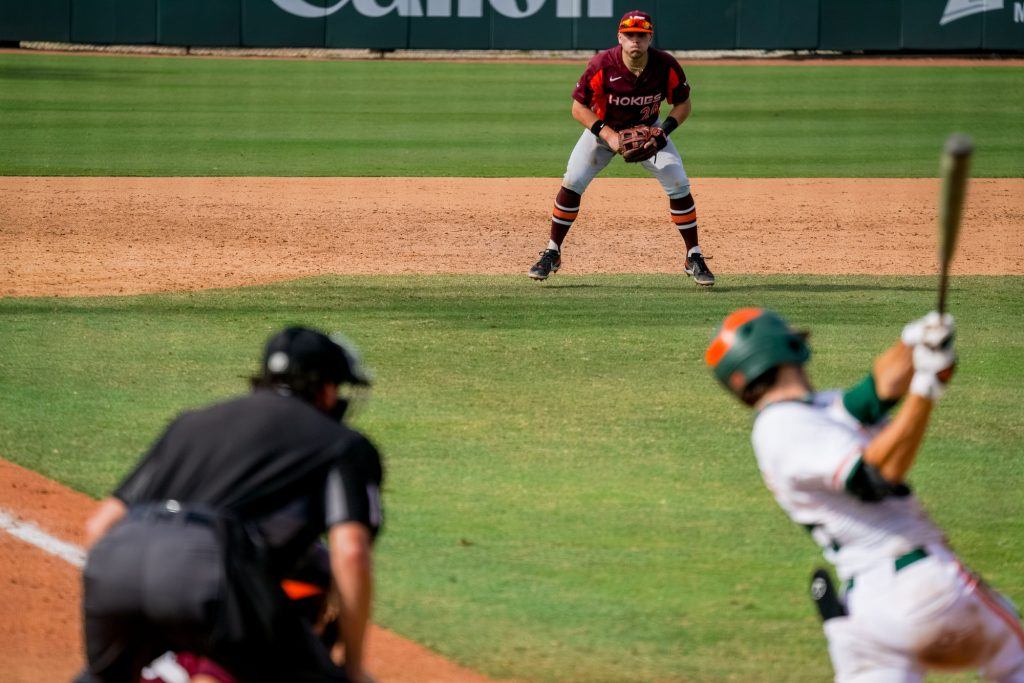 The Hurricanes lost two of three games to the Virginia Tech Hokies at Mark Light Field from Feb. 26-28.