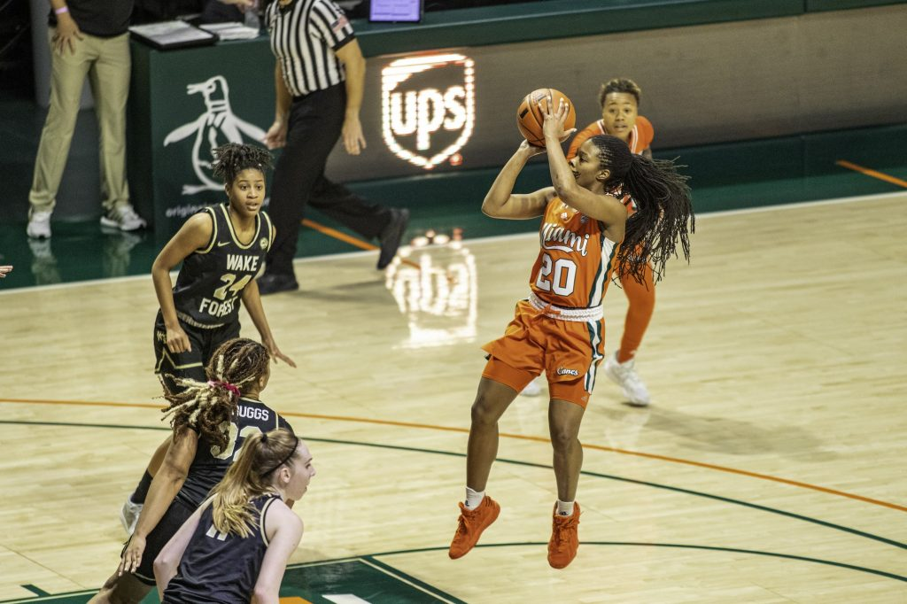 Senior Kelsey Marshall attempts a shot from the free throw line in Miami's win over Wake Forest on Thursday Feb. 25 at the Watsco Center. Marshall led the team in points and averages 13.2 points per game.