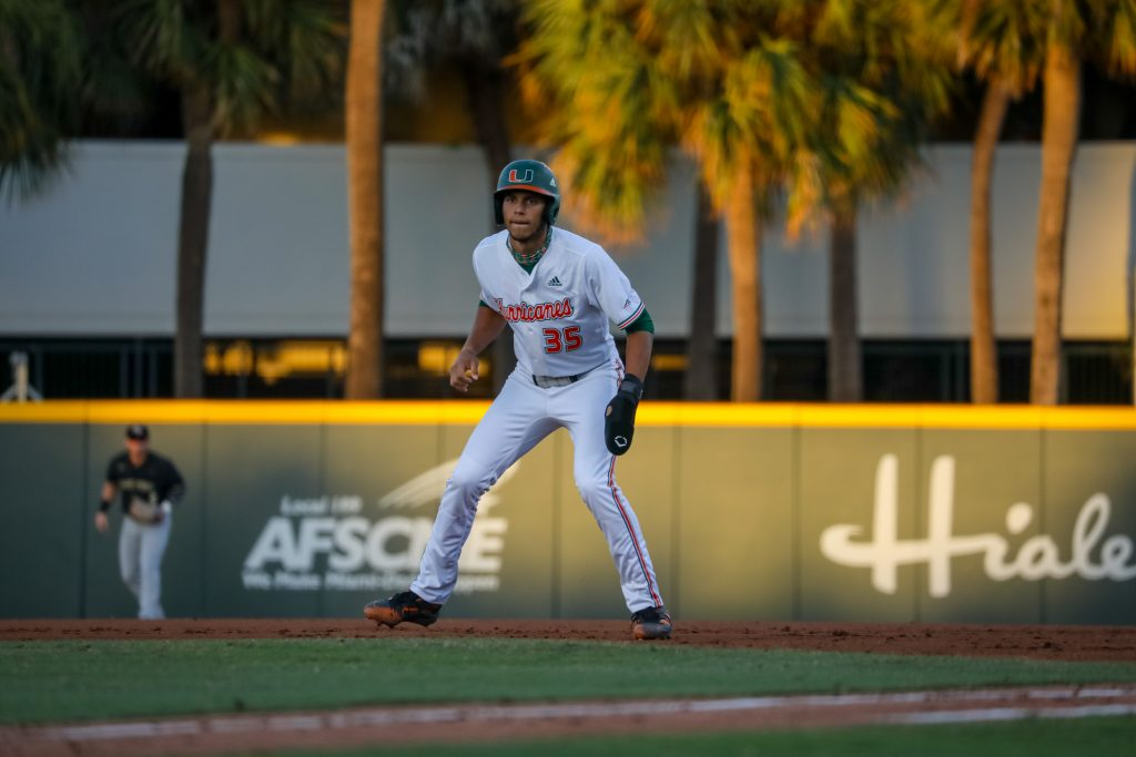 Freshman Yohandy Morales went 1-4 with one RBI Saturday night in Miami's 6-3 win over Wake Forest at Mark Light Field.