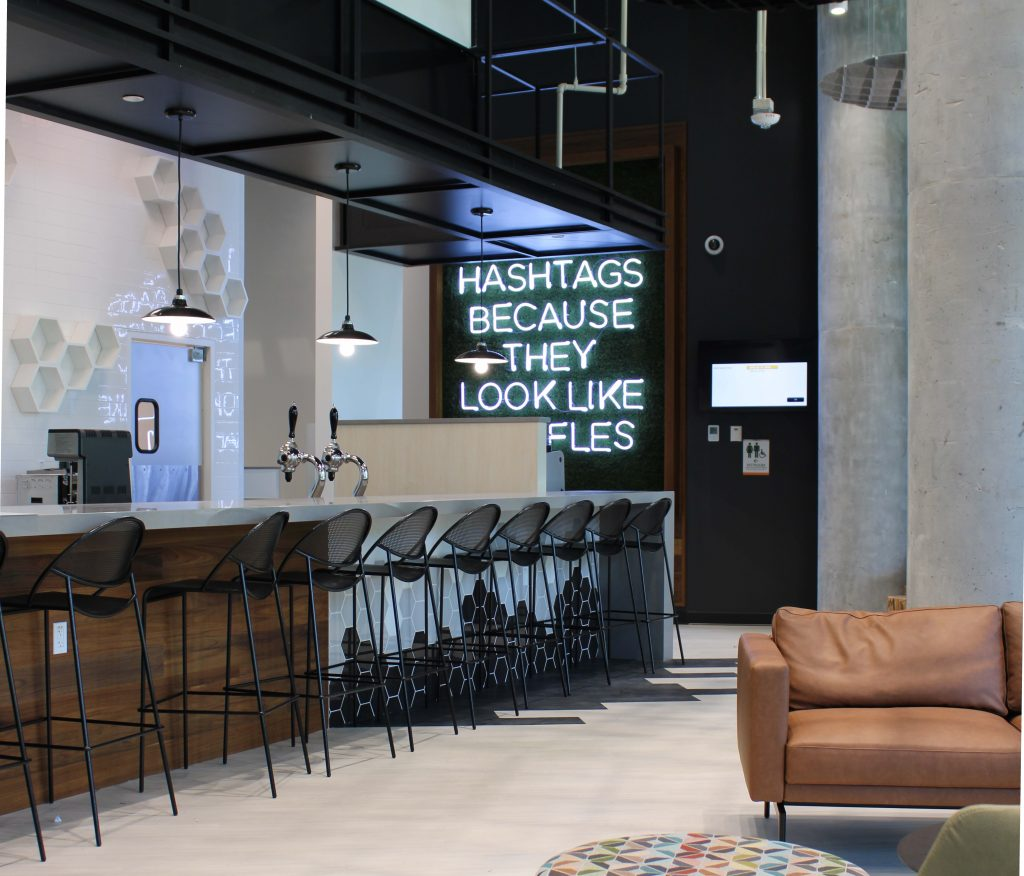 The interior of Daybreak features modern decor.