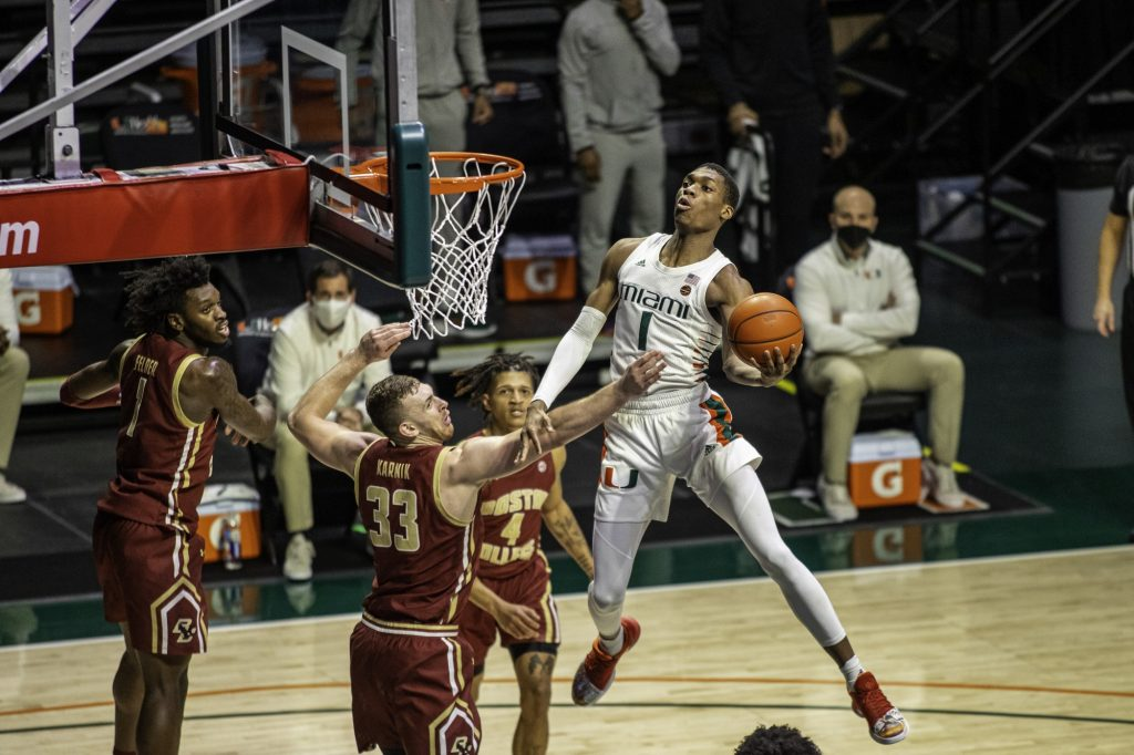 Sophomore Anthony Walker puts up a shot during the second half of Miami's win over Boston College Friday Mar. 5. Walker had 17 points, seven rebounds and four assists
