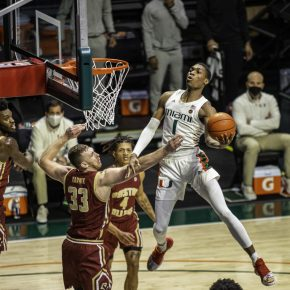 Miami snaps losing streak, ends regular season with win over Boston College