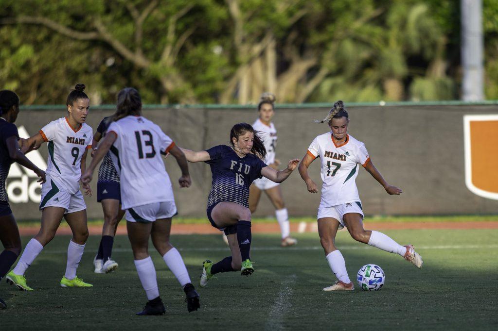 Sophomore midfielder María Jakobsdóttir lines up a shot in the second half versus Florida International on Sunday, March 14.