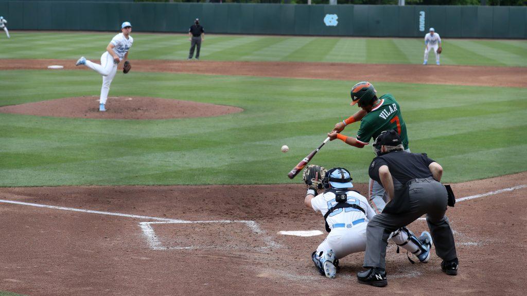 Anthony Vilar (7) bats against the UNC Tar Heels on Friday, April 23 at Boshamer Stadium in Chapel Hill, NC.