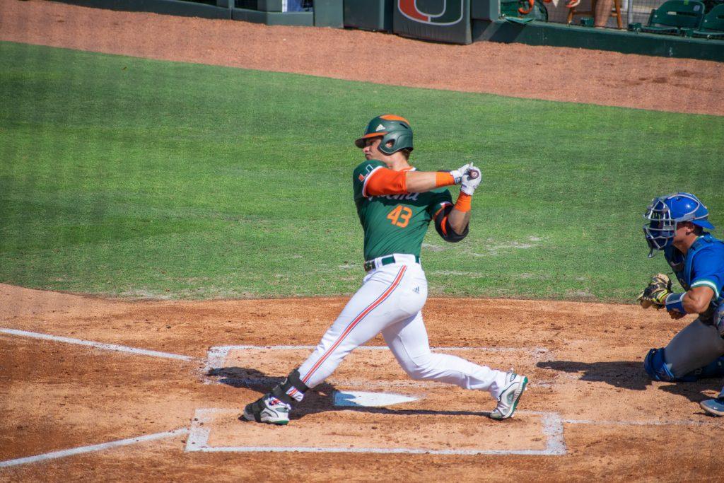 Right fielder Gabe Rivera bats during Miami's win over Florida Gulf Coast University on April 14 at Mark Light Field.