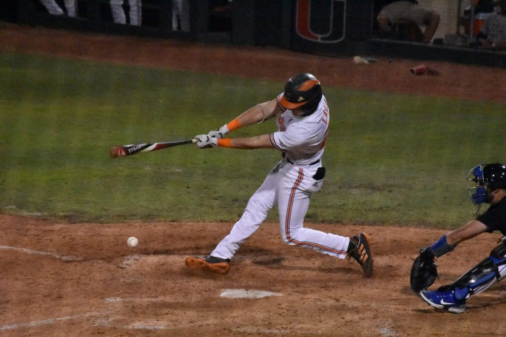 Jordan Lala bats during Miami's game against Duke on Friday, April 2 at Mark Light Field.