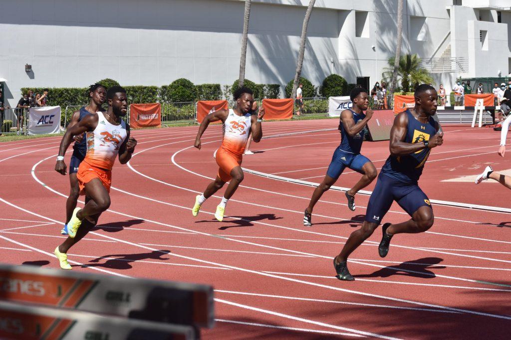 The Miami Hurricanes participate in the Hurricane Collegiate Invitational at Cobb Stadium on March 27.