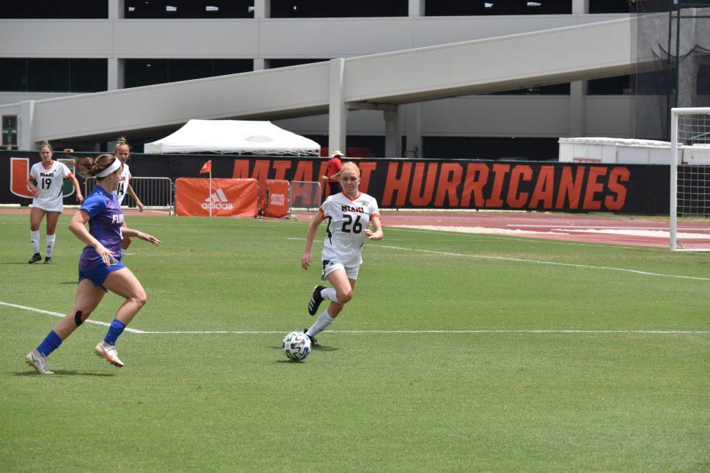 Miami defender Emma Tucker (26) defends against Florida on April 3 at Cobb Stadium in Miami's final match of the season.