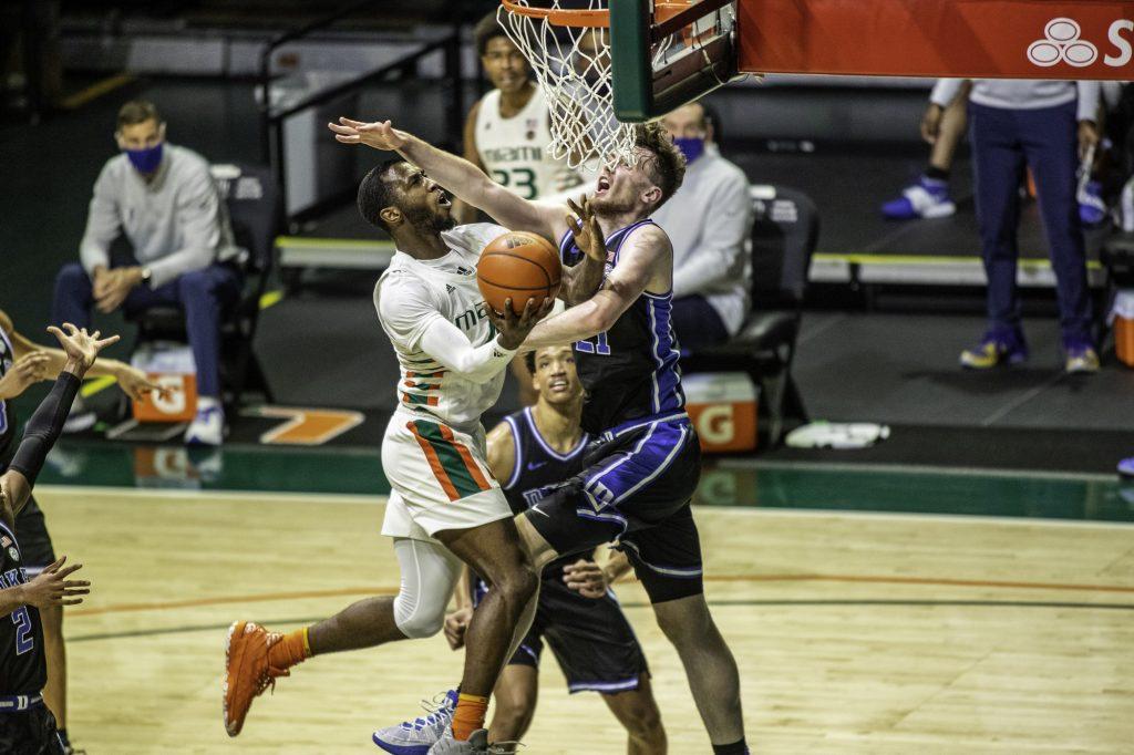 Senior guard Elijah Olaniyi had a team-high 21 points in Miami's win over Duke on February 1 at the Watsco Center.
