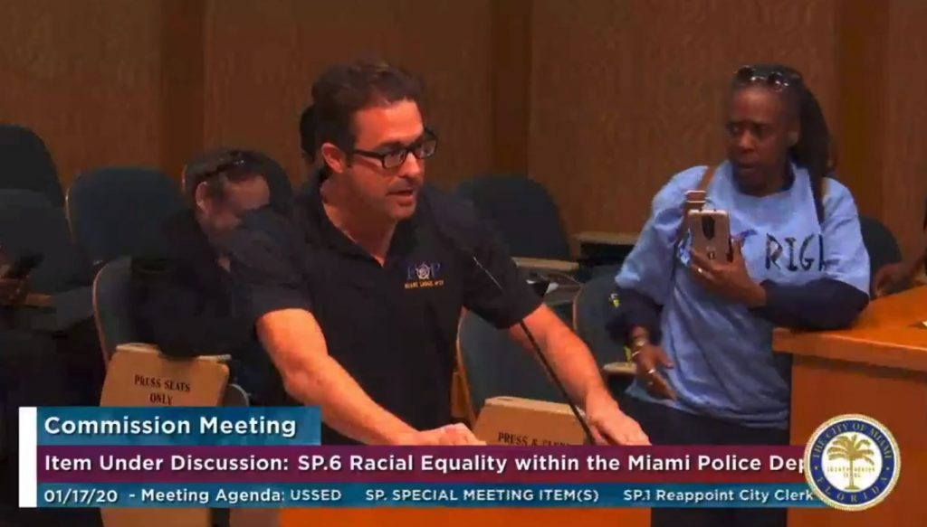 """Ortiz at a Racial Equality hearing at city hall where he falsely claimed to be Black and referred to Black people as """"Negros."""""""