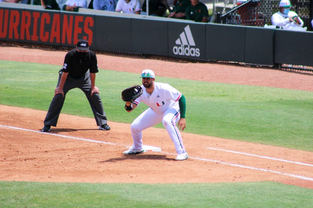 Alex Toral anticipates a throw to first base during Miami's game against Duke on April 4 at Mark Light Field.