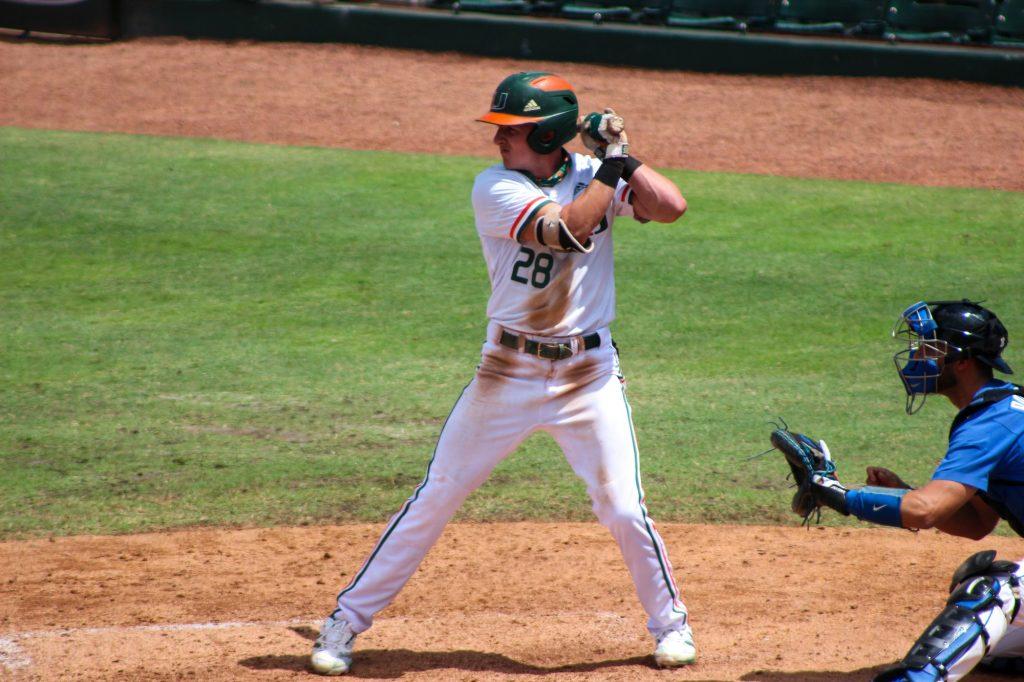 Sophomore outfielder Jordan Lala bats on Sunday, April 4 against the Duke Blue Devils at Mark Light Field.