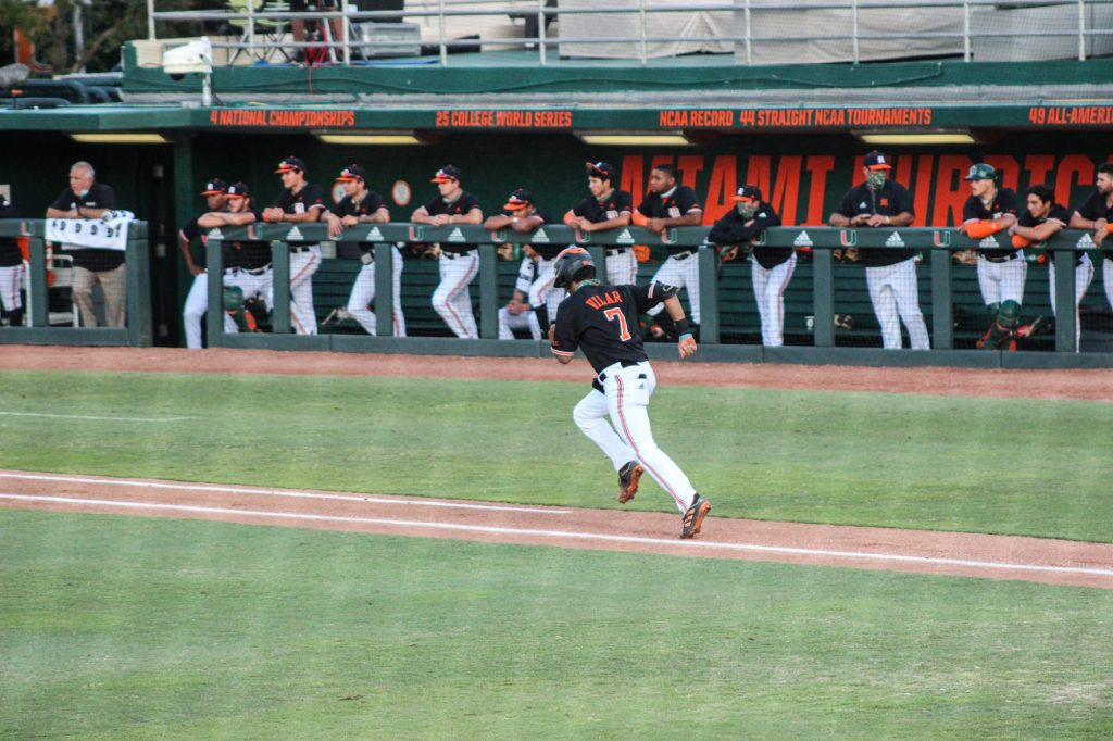 Anthony Vilar runs to first base during Miami's win over FIU on April 7 at Mark Light Field.