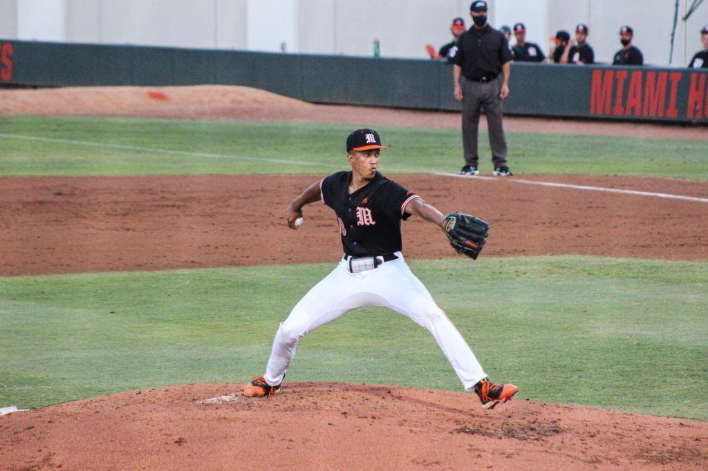 Alex McFarlane pitched two innings, gave up two hits with two earned runs, but struck out four during Miami's win over FIU on Wednesday, April 7 at Mark Light Field.