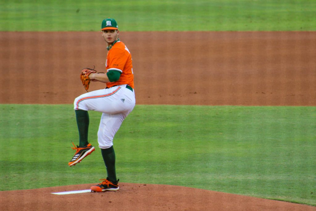 Victor Mederos pitches against Duke on April 3 at Mark Light Field.