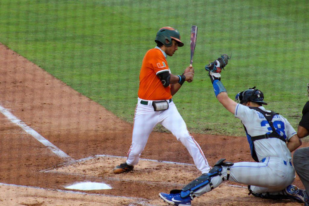 Anthony Vilar bats during Miami's game against Duke on April 3 at Mark Light Field.