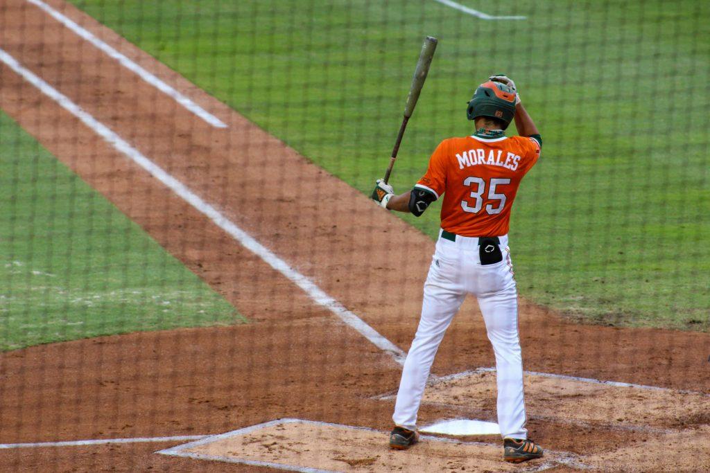 Freshman third baseman Yohandy Morales bats against Duke on April 3 at Mark Light Field.