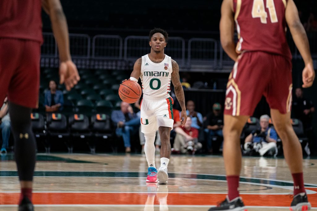 Junior guard Chris Lykes brings the ball down court during the Hurricanes' game versus Boston College on Wednesday, Feb. 12, 2020.