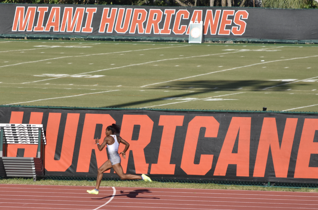 UM senior Michelle Atherley won the women's heptathlon at the Hurricane Invitational on April 9-10 and broke the UM program record