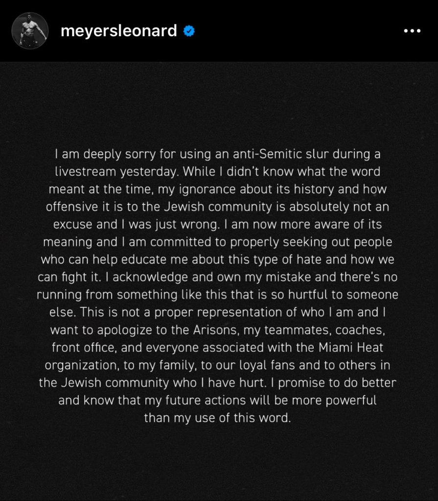 An apology posted by Meyers Leonard onto his Instagram on March 9.