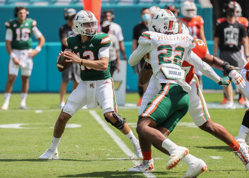 Miami Hurricanes quarterback Jake Garcia (13) sets up to pass during spring game at Hard Rock Stadium in Miami Gardens on Saturday, April 17, 2021.