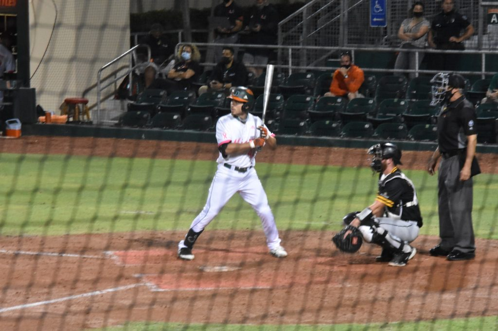 Christian Del Castillo bats during Miami's game against Appalachian State on May 7 at Mark Light Field.