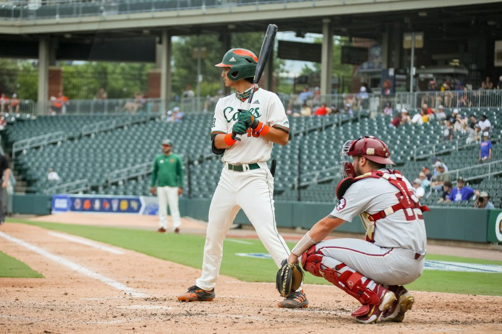 Dominic Pitelli bats for the Miami Hurricanes during Miami's 3-2 loss to Florida State in the ACC tournament at Truist Park in North Carolina.