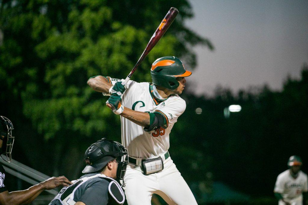 Freshman third baseman Yohandy Morales bats during Miami's 16-1 win over Appalachian State on May 8 at Mark Light Field.