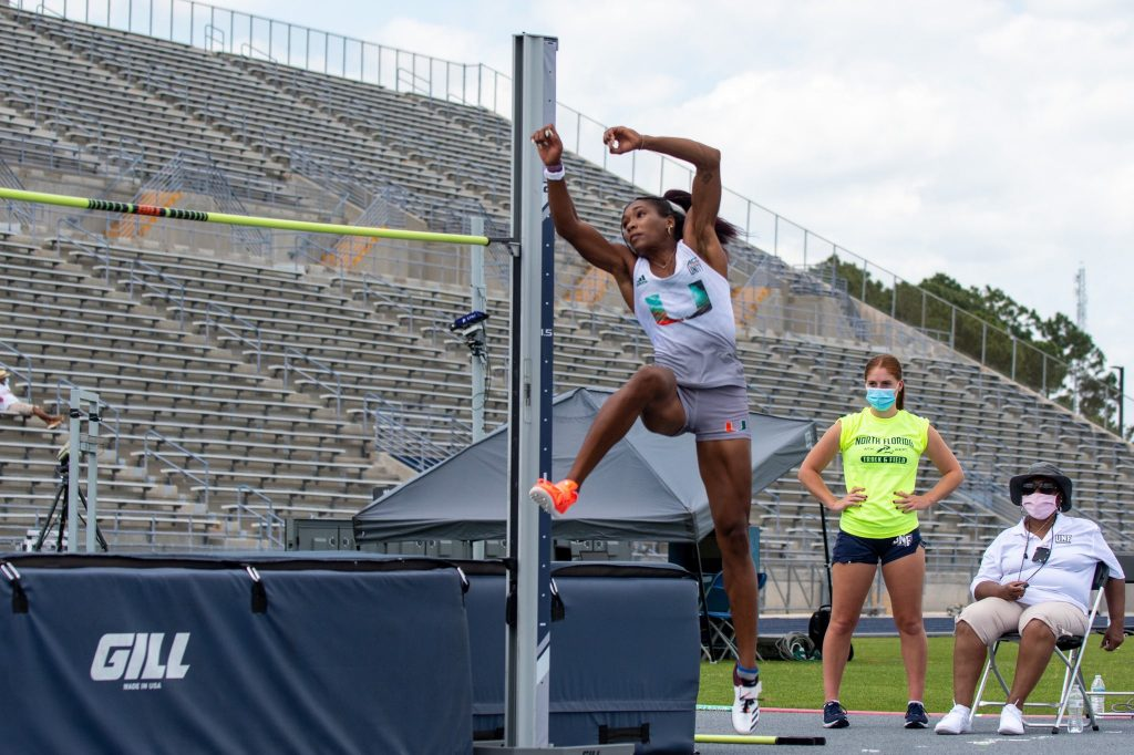 Michelle Atherley moved into third place on Miami's all-time list in the high jump at the UNF Invitational from April 29-30.
