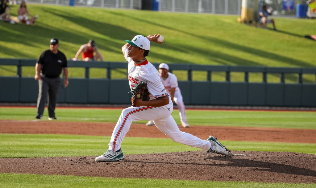 Alejandro Rosario throws a pitch against South Alabama in the NCAA Regionals at Gators Park in Gainesville, Florida.