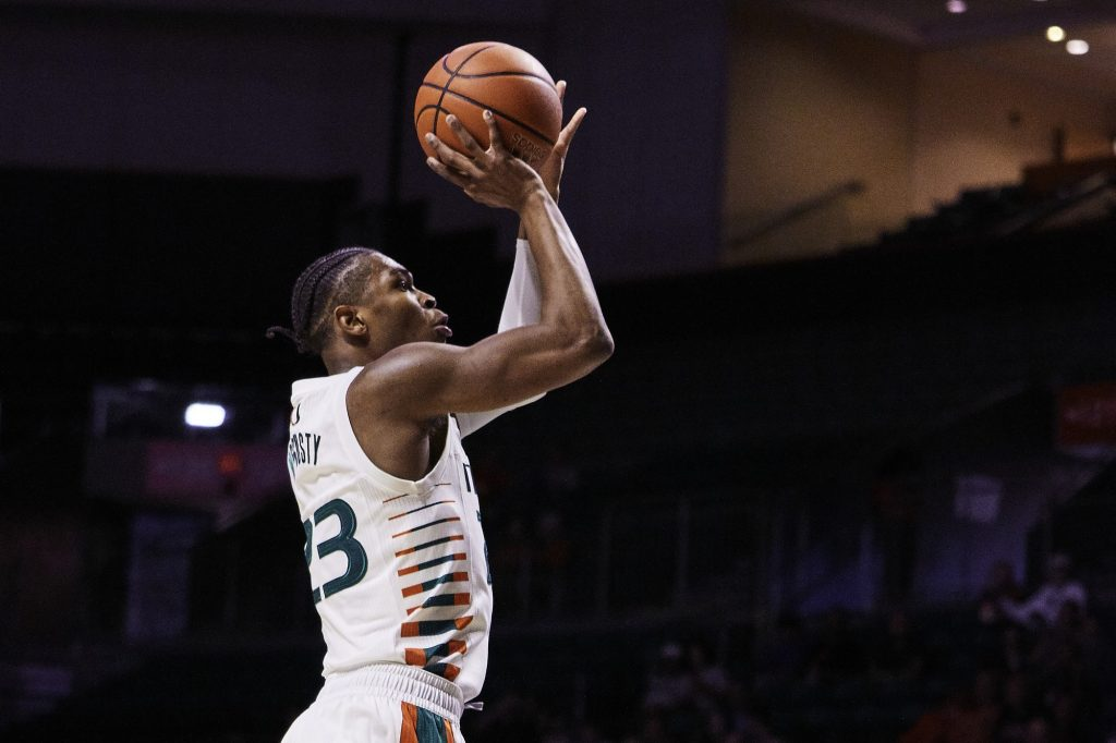 Kameron McGusty shoots during Miami's game against Quinnipiac on Nov. 16, 2019 at the Watsco Center.