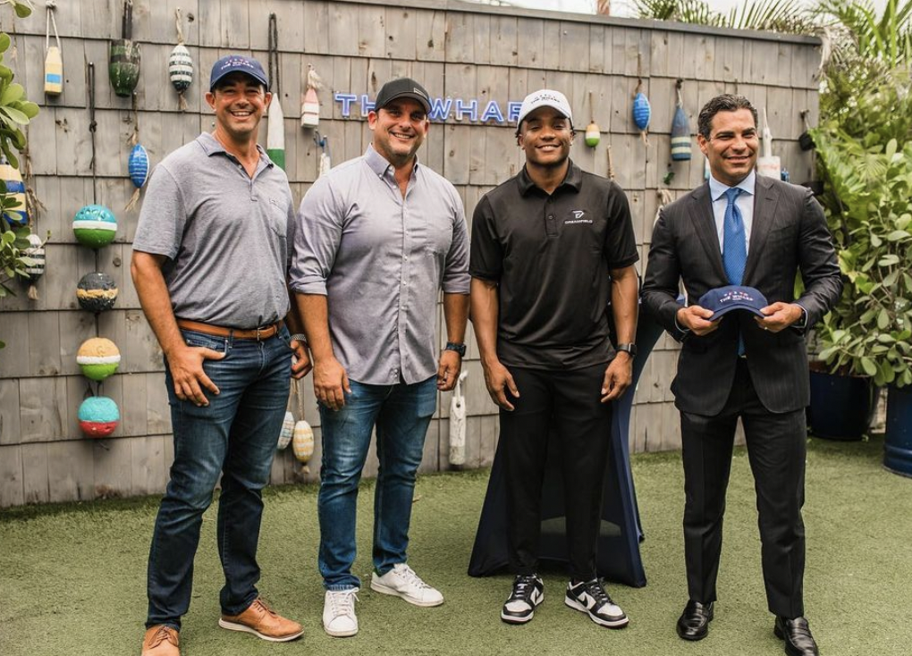 One of King's four sponsorship deals was with The Wharf Miami, a local bar and restaurant. King, pictured with Miami Mayor Francis Suarez (right) held an event at The Wharf Thursday afternoon to celebrate.
