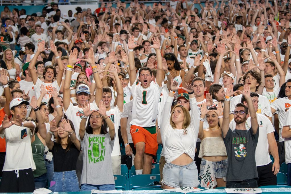 Canes football fans throw up the U and cheer during the University of Miami's game versus the University of Virginia on October 11th, 2019 at Hard Rock Stadium in Miami Gardens, FL.