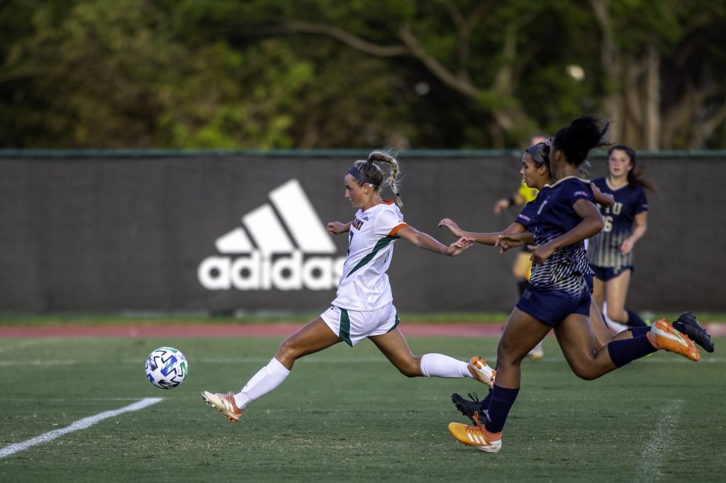 Junior Maria Jakobsdottir scores the second goal of the game for Miami in a win over Florida International University on Sunday, March 14 at Cobb Stadium in Coral Gables. Jakonsdottir is a key returning member of the UM women's soccer team.